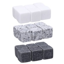 6pcs Natural Whiskey Stones Rock Set Ice Cube Sipping Alcohol Drinks Cooler Party Wedding Christmas Favor Gift Bar Accessories(China)