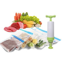 Liplasting 5pcs/set Vacuum Storage Bag Vacuum Compressed Bag with Hand Pump Reusable Fresh Food Storage Bag Organizer Tool Kit
