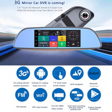 "Auto Driving recorder 7"" Full HD 1080P Intelligent Car DVR Rearview Mirror Dash Camera Dual Lens 3G WIFI GPS For Android 5.0(China)"