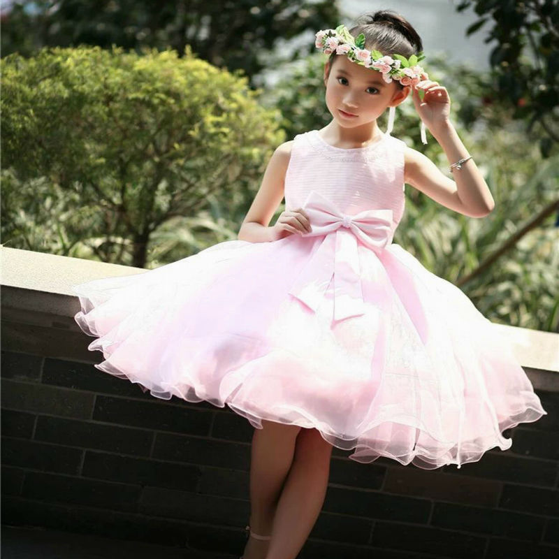 Branded Summer Fashion Girls Sleeveless Bubble Dress Princess Wedding Dress Flower Girl Dress One-piece Kids Evening Party Dress<br>