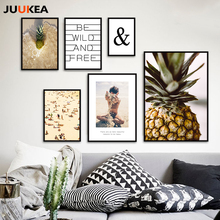 JUUKEA Posters And Prints Wall Art Canvas Painting Wall Picture For Living Room Nordic Decoration Pineapple Holiday Beach Summer(China)