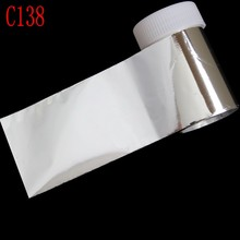 100*4cm 1 Roll Shiny Pure Silver Color Nail Art Stickers Decals Wraps Nail Transfer Foil Manicure Tools Wholesale Retail C138