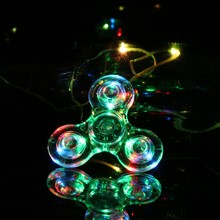New Style Crystal Plastic LED Light Hand Fidget Crystal Spinner EDC Tri Spinner For Autism Focus Anxiety Stress Relax Gift Toys