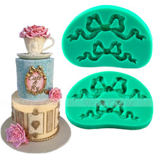 Wholesale/retail,free shipping ,  clay pottery mould  silicone  Aristocratic wind satin ribbon bow decorative mold