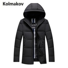 KOLMAKOV 2017 new winter high quality men's hooded solid color down jacket warm parkas,90% white duck down coats men.size L-5XL.(China)