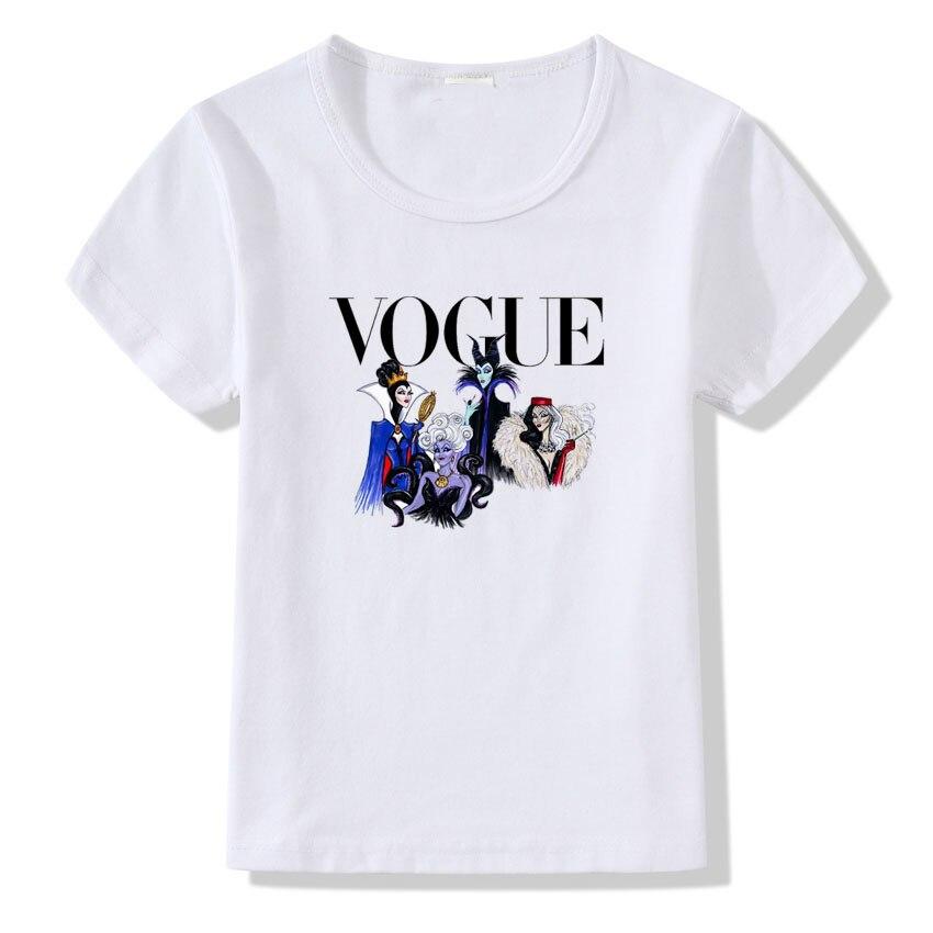 Girls Summer T-Shirt Fashion Print T-Shirt Princess Design Short Sleeve Shirt Children