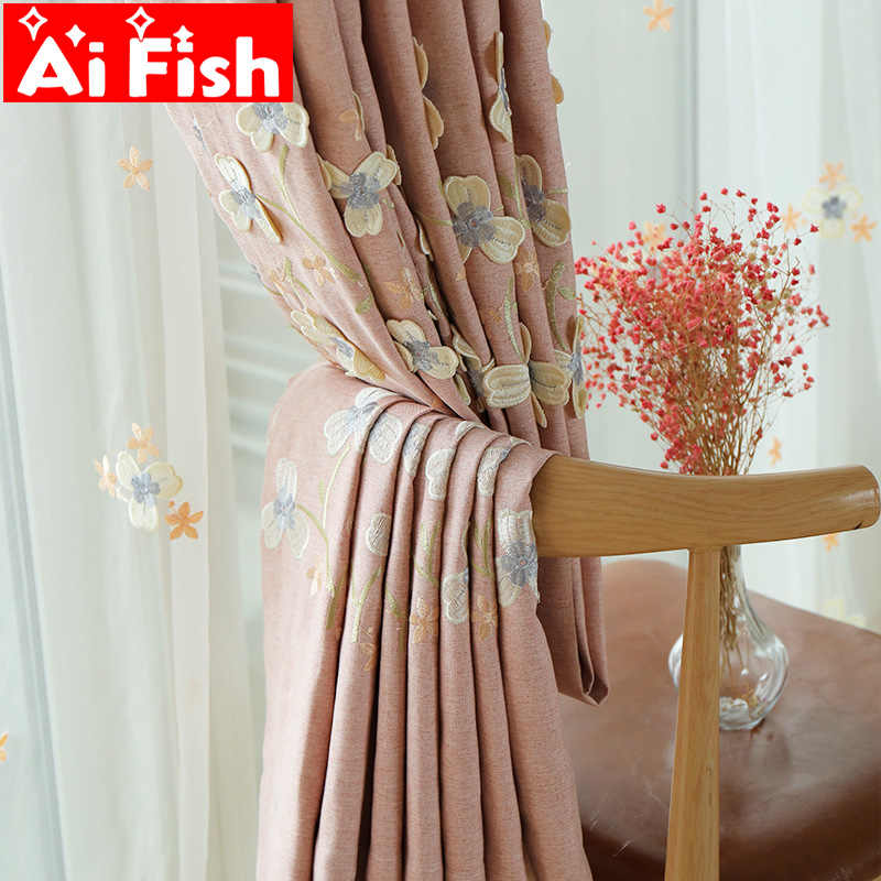 Chenille Pink Embossed Embroidered Curtains For Living Room Blackout Window Curtains Fabric For Bedroom Lace Tulle Drapes Y02#4