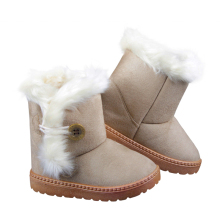 Winter Children Boots Faux Suede Furry Lined Boys Girls Snow Boots Soft Ankle Buckle Warm Kids Shoes EU 21-35(Baby/Little Girls)