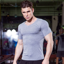 Buy T-shirts Men Compression Shirt Men's Tshirt Short Sleeve V Neck Quick Dry Workout Bodybuilding Fitness Tops T shirt for $9.46 in AliExpress store