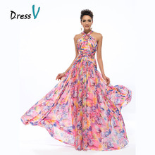 Dressv Gorgeous Long Party Dresses Evening Dress Halter A-line Flutter Floral Print Chiffon Maxi Dresses Prom Formal Dresses(China)