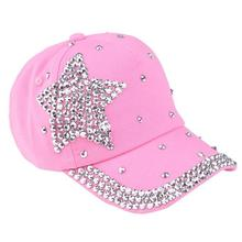 kids Baseball Cap Children Cotton Five-pointed star diamond Rhinestone Star Cap Shaped kids Snapback leisure Hat al aire libres