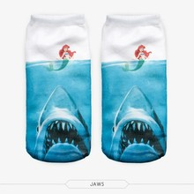 Hot Sales Summer Shark Socks Mermaid Socks Women 3D Full Printing Animal Pattern Calcetines Women Low Cut Ankle Sock Hosiery