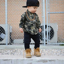 Toddler Kids Baby Boy Girls Camo Floral Plaid Tops Shirt Long Sleeve Turn-down Collar Cotton shirt Clothes Outfits(China)