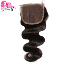 Beauty Forever 4*4 Lace Closure Brazilian Body Wave Human Hair Non-remy Free Part 120% Density Natural Color 10-20 inch