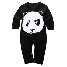 ABWE Best Sale Panda Baby Boys Girls Toddler Cotton Romper Babygrows Playsuit Outfits, Black , 0-6 Months(China)