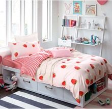 Strawberry girl Twin Size 3 pcs Bedding sets single/kids bed Duvet cover set Flat sheet Pillowcase set Cotton bed linings set