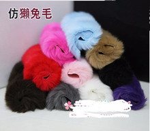 Min.$15 (Mixed Order) 2pcs/lot 12*17cm Imitation Rabbit fur 5.5 inches Cell phone screen Case Accessory Colorful DIY Decoration