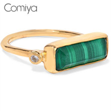Comiya Bagues French Bulldog Fashion Hot Boho Zinc Alloy Rectangle Shape Green Stone Women Finger Rings Wholesale Jewelry Ring