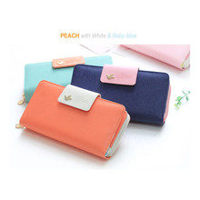 Wallets Real 2015 New Mobile Phone Manufacturers Wallet Bag Female Korean Large Capacity Hit Color Hasp Long Card Package L263(China)