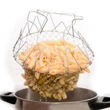 1 pc Food Frying Basket Stainless Steel Foldable Steam Strain Fry French Chef Basket Magic Basket Mesh Strainer Net Colander