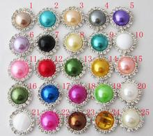 Free Shipping!100pcs/lot 16mm 25colors round metal rhinestone pearl button wedding embellishment headband DIY accessory