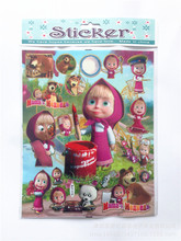 2PCS/lot carton bubble sticker of masha and bear ,dog patrol puffy stiker for kids present