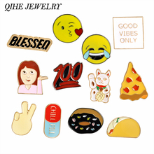 QIHE JEWELRY Cartoon Emoji Pizza Taco Donuts Food Cat Pins Brooches Badges Backpack For Bags Jeans Clothes Decoration(China)