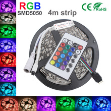 Strip RGB SMD5050 RGB LED Strip Light 4M 30LEDS/M SMD Diode Tape LED Ribbon With 24Key IR Remote Controller Without adapte Home