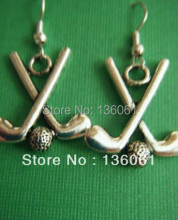 Fashion 50Pair Vintage Silvers GOLF CLUBS & BALL Dangle Earrings Charms Pendants Drop Earrings DIY Jewelry  Handcrafted P737