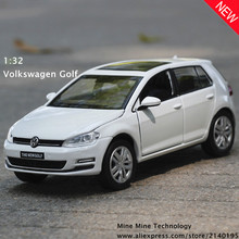 Double Horse 1:32 free shipping Volkswagen golf Alloy Diecast Car Model Pull Back Toy Car model Electronic Car with Kid Toy Gift(China)