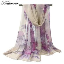new Spring women shawl silk feeling chiffon georgette oblong scarf peony flower leaves pattern printed women's scarves(China)