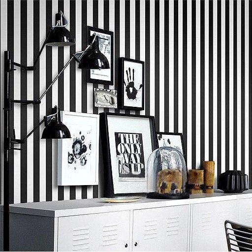 waterproof 0.53*10m per roll black and white wallpaper washable pvc strip wallpaper<br>