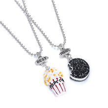 New Arrive Beat Friend Necklace Popcorn And Cookies Pendant Necklace Bead Chain Necklace jewelry lead nickel free