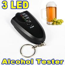 Portable Alcohol Breath Tester Breathalyzer Keychain Red Light LED Flashlight Mini Professional Key Chain Alcohol Meter Analyzer
