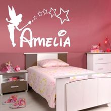 D0011 PERSONALISED FAIRY wall sticker girls name bedroom princess tinkerbell Custom name art vinyl sticker for kids room decor(China)