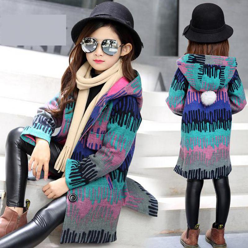 2017 New Teenage Girls Jackets Kids Girls Coats Winter Kids Woolen Jackets Girls Casual Solid Children Outerwear 10 11 12 13 14<br>