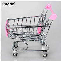 Eworld Mini Supermarket Handcart Shopping Utility Cart Mode Storage Pink Children Gift Shopping Cart Storage Cartoon Toy For Kid(China)
