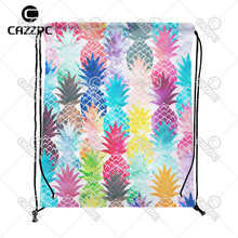 Watercolor Pop Art Hawaiian Pineapple Tropical Summer Style Individual Nylon Fabric Drawstring Shoes Storage Dust Bag Pack of 4