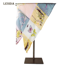 [LESIDA] New High Quality Small Squar Pure Silk Head Scarves Butterfly pattern Neck Warmer Foulard Femme 53*53CM Bandana XF1093