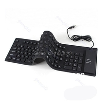 109 Keys USB Silicone Rubber Waterproof Flexible Foldable Keyboard For PC Black #R179T# Drop shipping