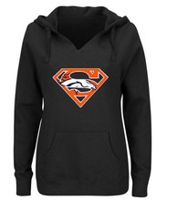 Women's Winter Broncos Fans Hoodies, New Design Denver Sweatshirts Superman S Logo Picture Print Fashion Tops V-neck Pullover(China)