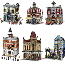 DHL City Street  LEPIN 15007 European Market 15008 Green Grocer 15004 Fire Brigade Station Building Block Set Bricks Kits