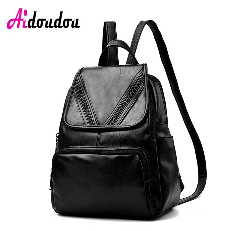 Clearance- brand vintage women backpack nubuck leather+PU school backpacks for teenage girls<br>