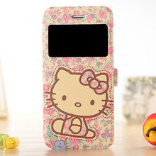"Luxury Hello Kitty PU Leather Flip Case For Apple iphone 6 4.7 Plus 5.5"" 5s 5 4s Phone Cover Cases With Wallet & Stand Function"
