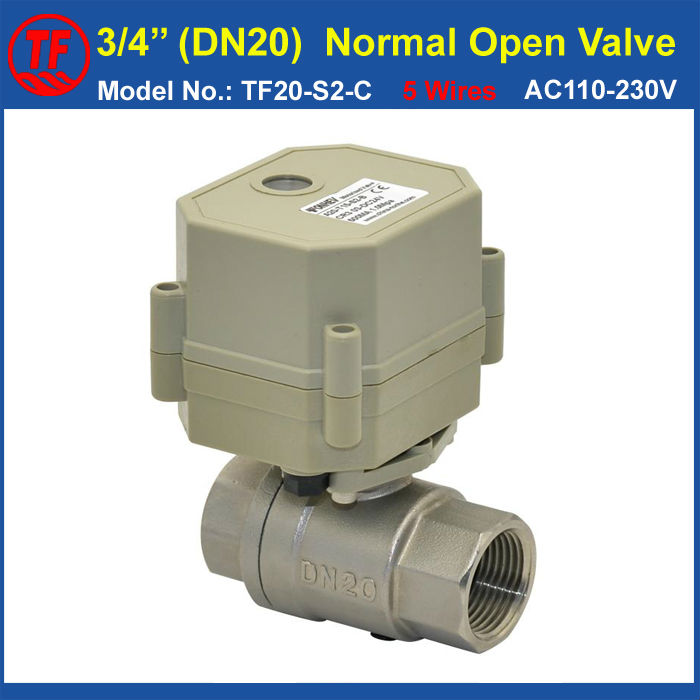 5 Wires Stainless Steel DN20 Normal Open Valve With Signal Feedback TF20-S2-C AC110-230V BSP/NPT 3/4 Actuated Valve<br>