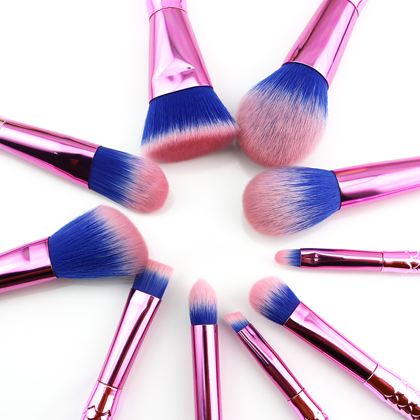 10PCS High Quality Mermaid Makeup Brushes Set