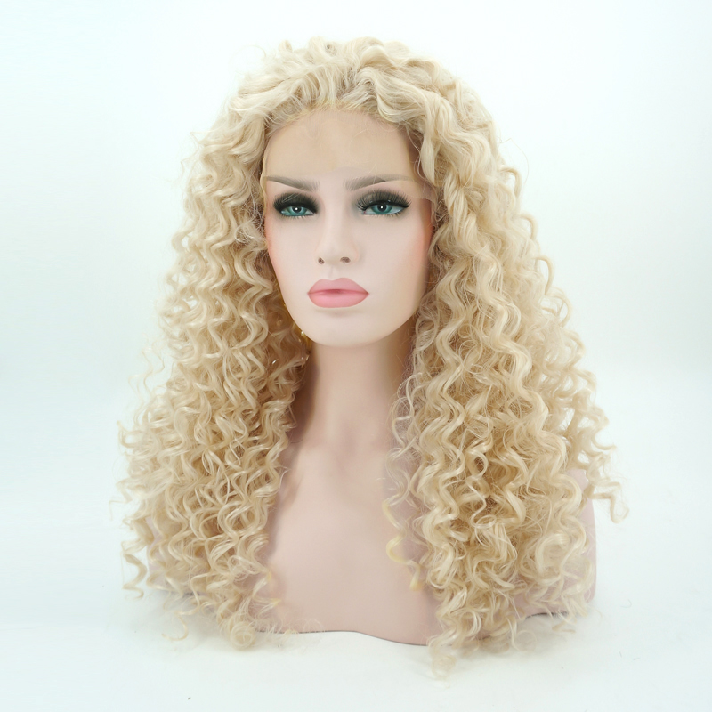 24 Blonde Curly Daily Hair Women Long Lace Front Synthetic Wig Heat Resistant H793119 Synthetic Wigs