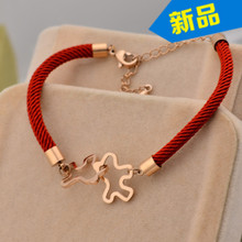 immediately playful little horse bracelet red line hand rope string banglr rose Gold color Horse high quality charm gift(China)