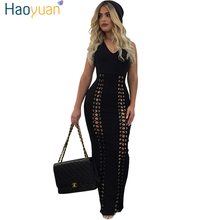 Buy HAOYUAN Women Lace Long Bandage Dress Bodycon 2017 New Summer Robe Rivet Hollow Club Black Sexy Party Dresses Maxi Dress for $15.99 in AliExpress store