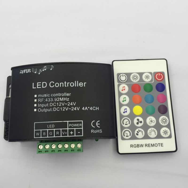 RGBW music controller with 24 key RF remote dream color led music rgbw controller DC12-24V for RGBW led strip<br><br>Aliexpress